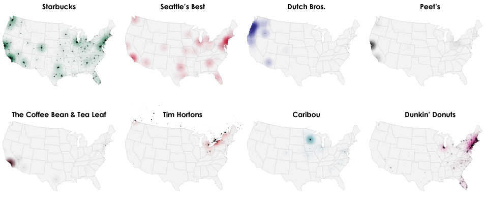 Tim Hortons In Usa Map.North America S Regional Coffee Preferences Mapped