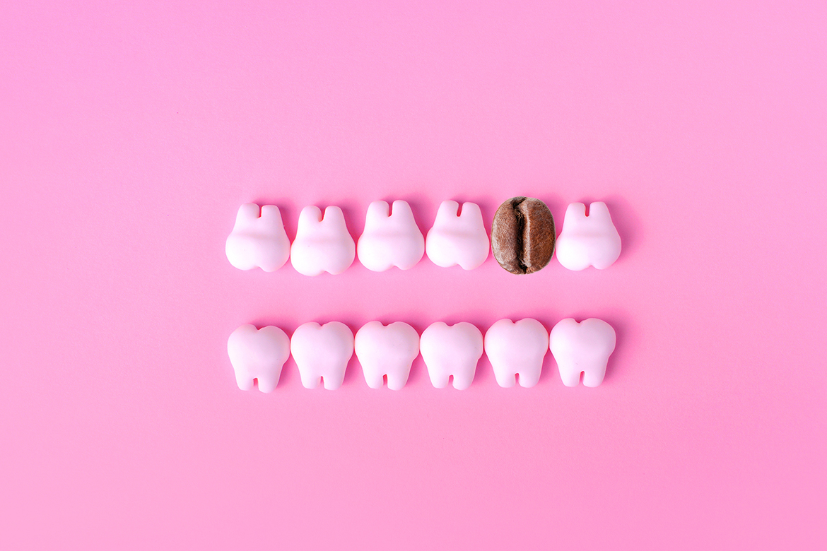 Dental Background With Models Of Teeth In Two Lines